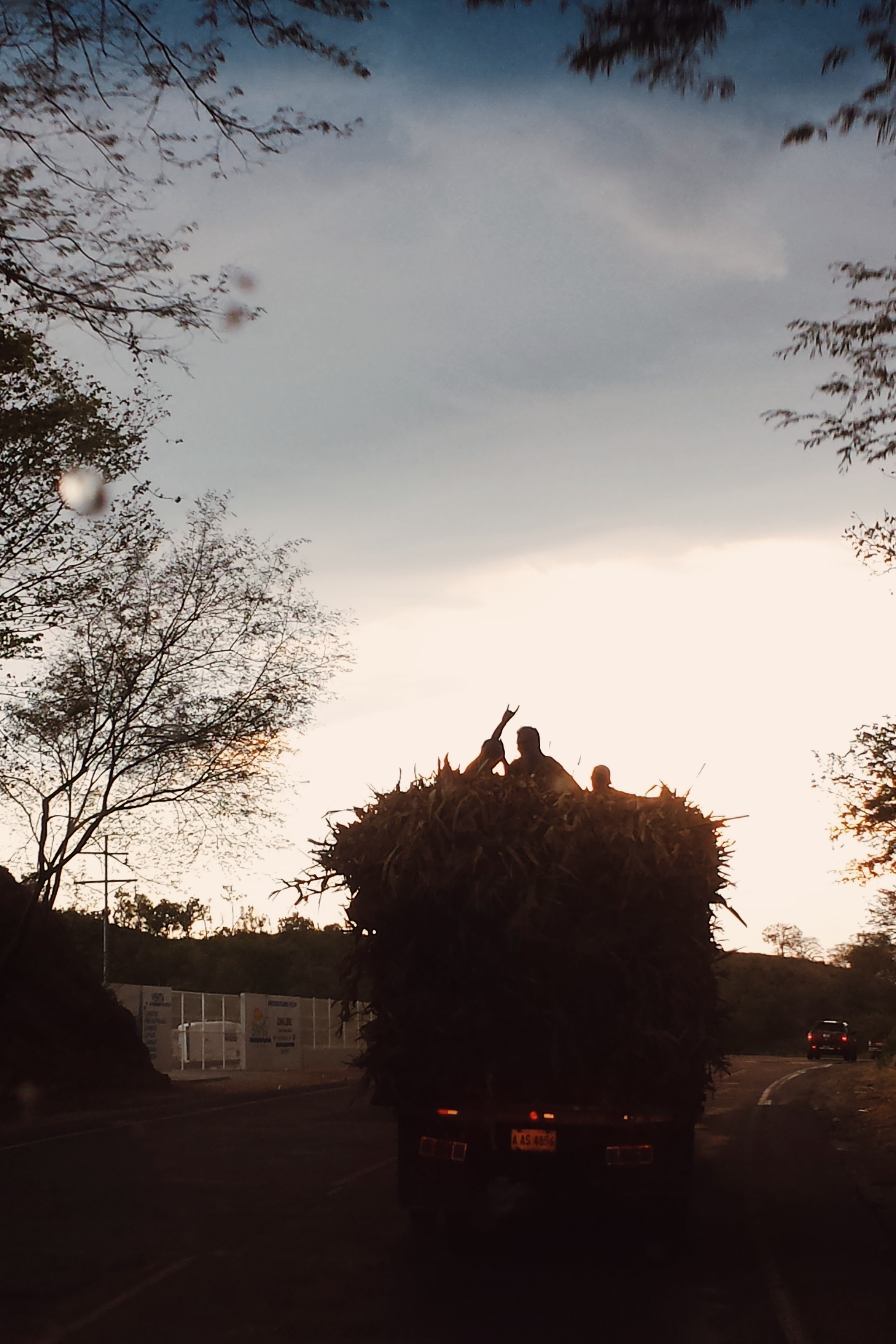 """The back of the truck driving in front of us. The silhouettes of three riders peek out from on top of bundles of wheat in the back of the truck. One man raises his arm and does the """"rock and roll"""" sign to our car."""