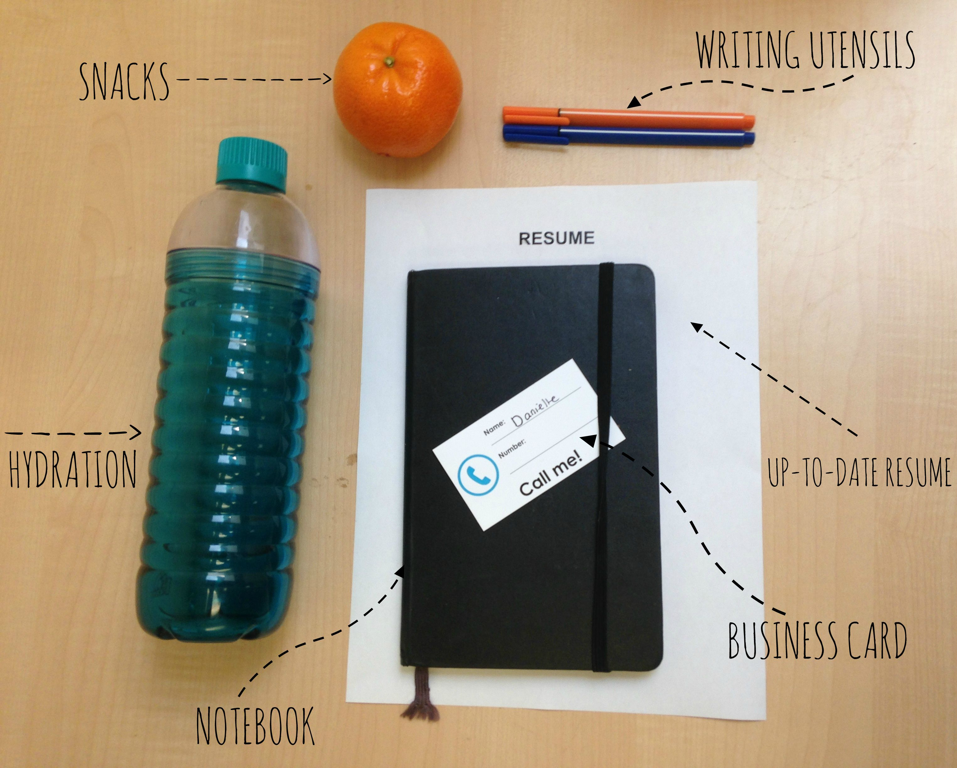 Items you may want to bring to CID with labels: snacks, writing utensils, up-to-date resume, business card, notebook, hydration (a water bottle)