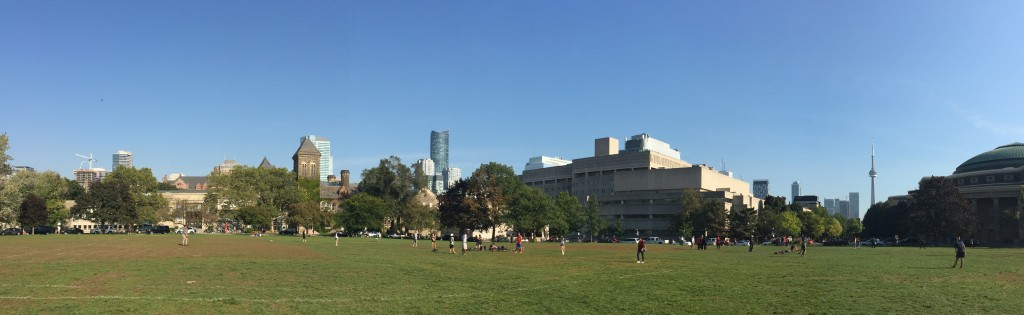Pictured: a southward view of the field in King's College Circle, where people are playing Frisbee and soccer.