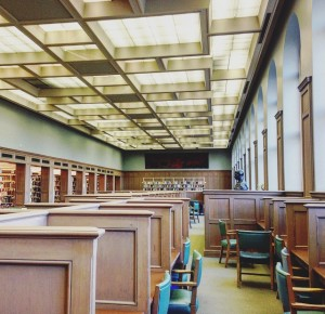 photo of the panelled ceiling and desks at laidlaw library