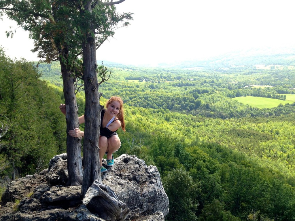 Photo of: Me exploring and hiking at a cliff near my hometown last summer