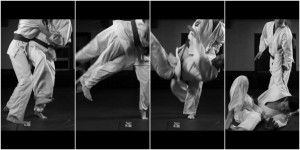 Four successive snapshots of me performing a jiu jitsu throw on a training partner.