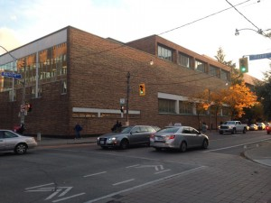 The Athletic Centre viewed from the corner of Harbord and Huron.