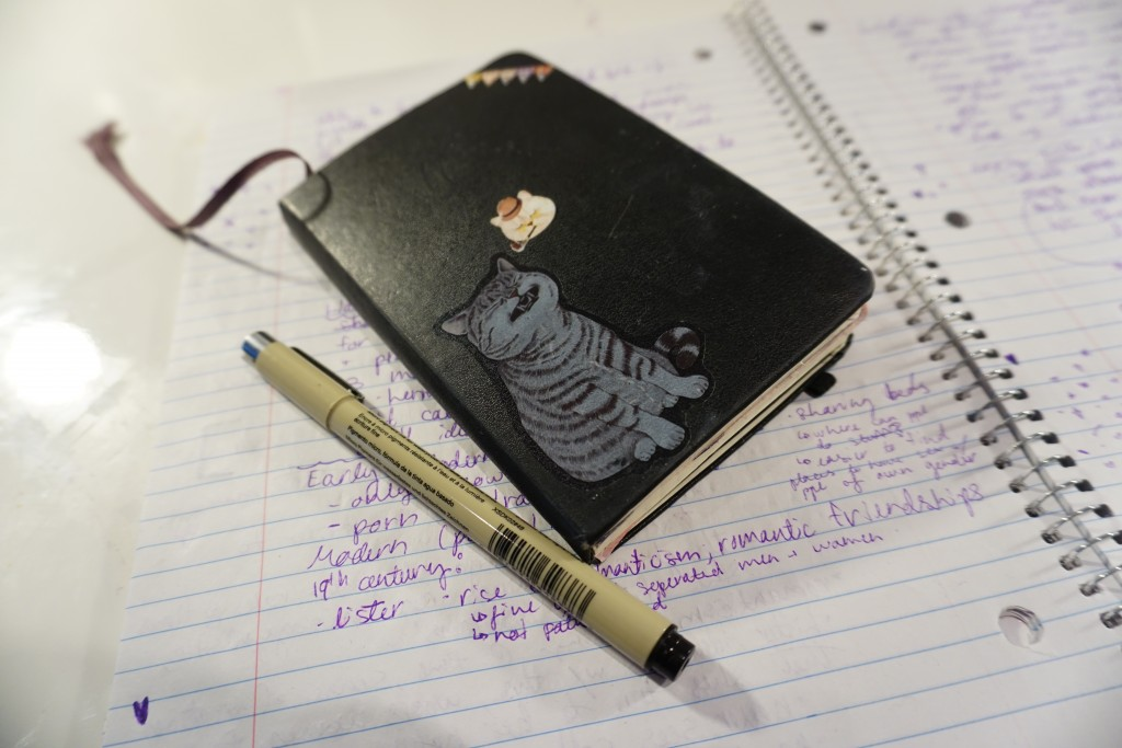 a photo of my bullet journal, a black notebook with cat stickers