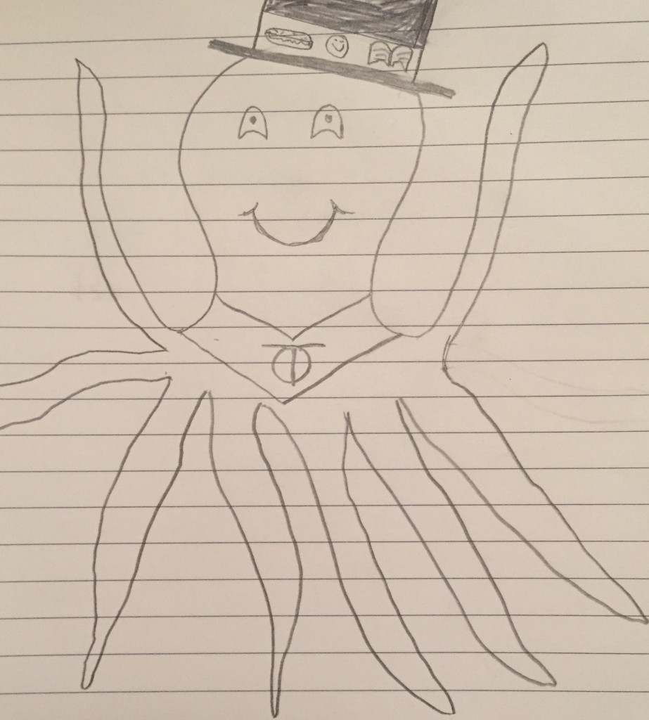 Pictured: superhero octopus wearing a top hat and cape