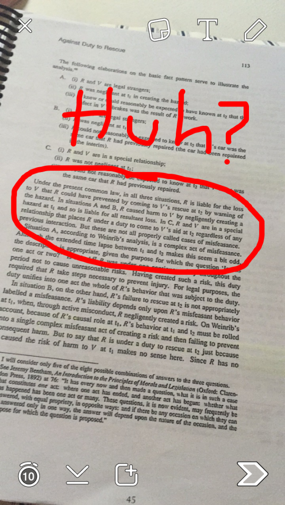 "Pictured: a page of one of my readings, with a particularly complex passage circled in red and the word ""huh?"" written above it."