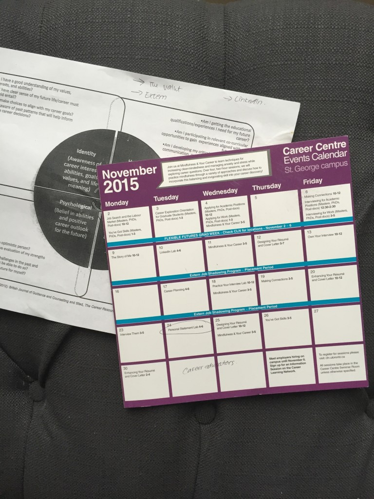 Pictured: a calendar of events I received at the Career Centre
