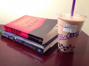 Chatime bubble tea and two of the books I am currently reading.