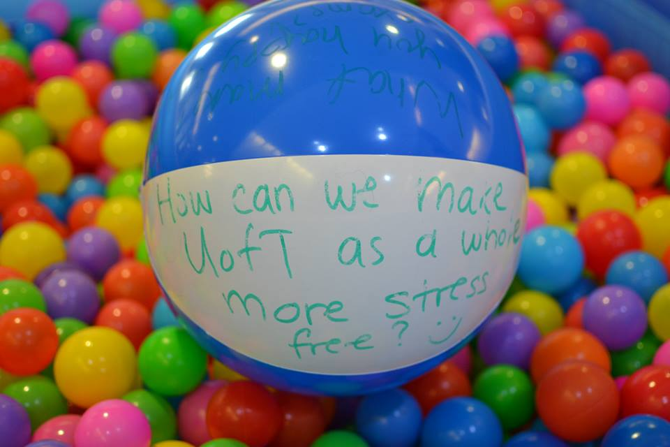 "A beach ball with the words ""How can we make U of T as a whole more stress free?"" surrounded by smaller, colourful balls in the ball pit."