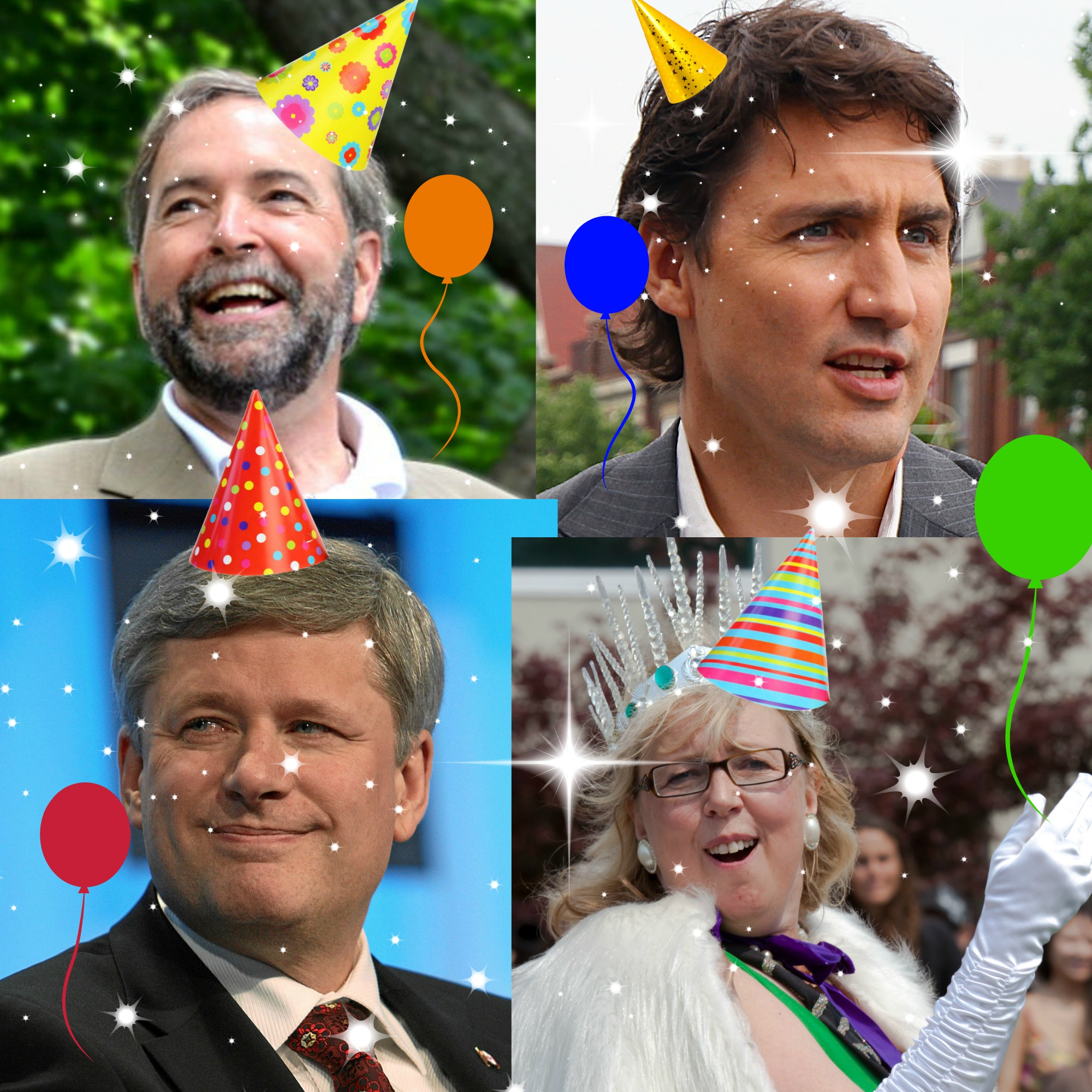 Images of the federal election candidates with party hats and balloons.