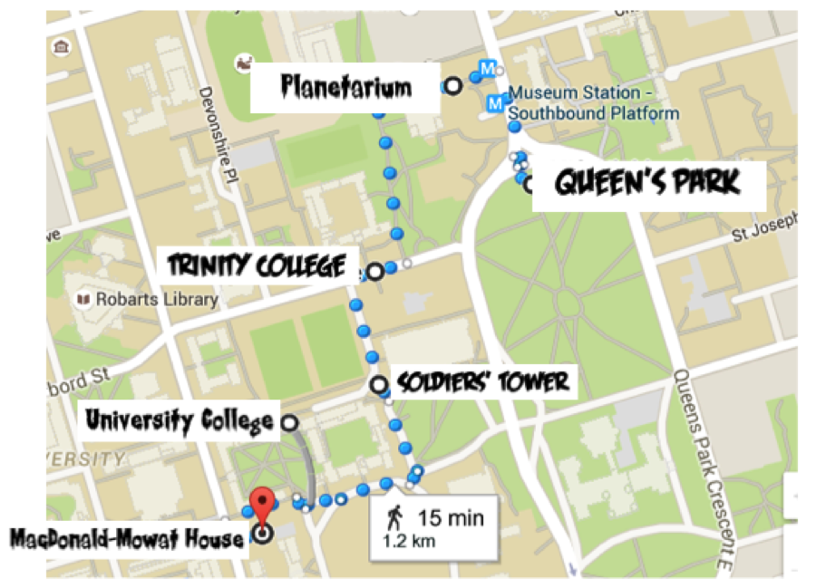 Pictured: a map of UofT displaying a route from Queen's Park to the MacDonald-Mowat Building