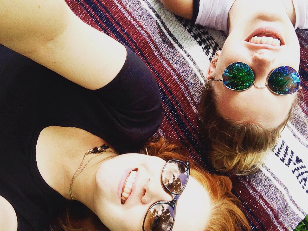 Madeline taking a selfie with her best friend, Michaela.