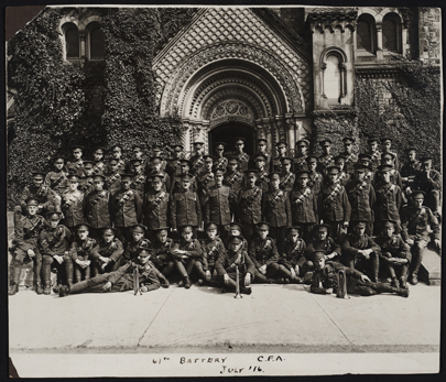 Soldiers in front of University College in 1946. Photo courtesy of U of T Archives.