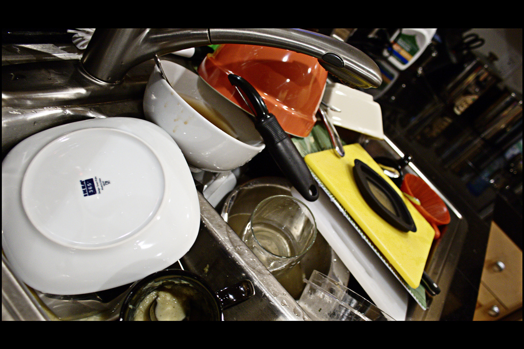 A pile of dirty dishes in a sink