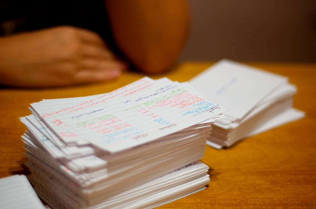 Stacks on stacks (of flashcards). Image by benjamingolub via Flickr.