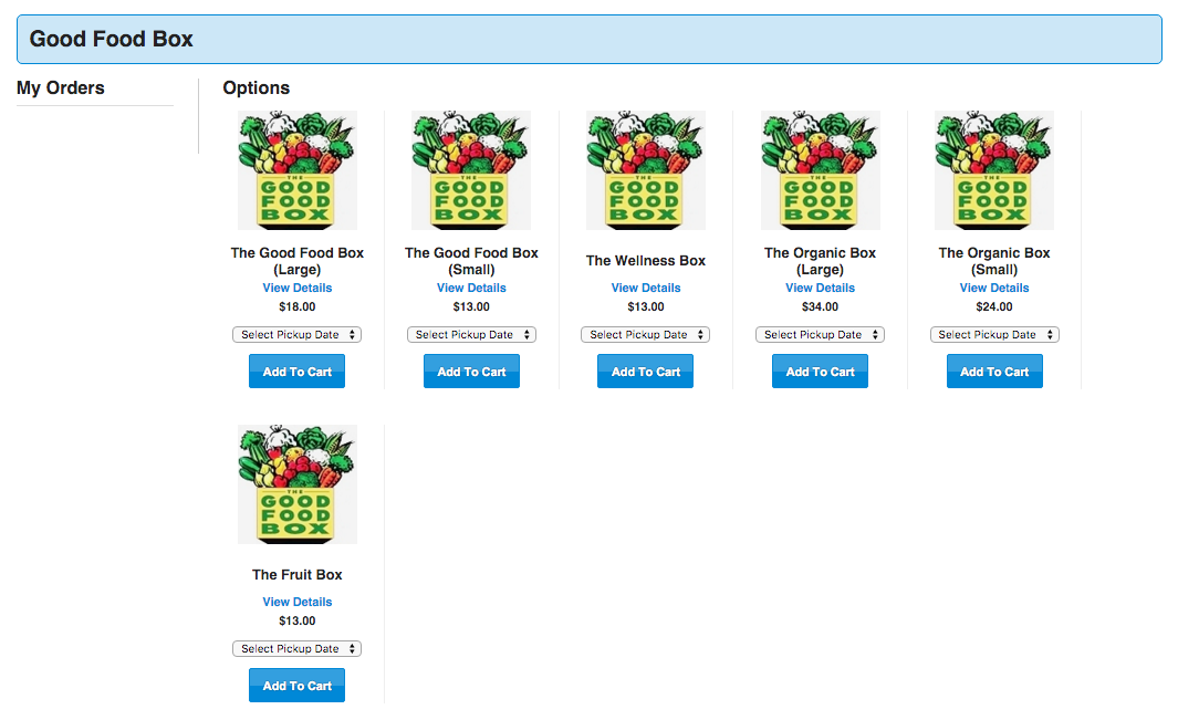 Screenshot of the order form for the Good Food Box on the UTSU website.