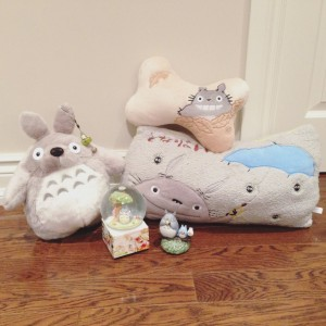 An assortment of Totoro merchandise.