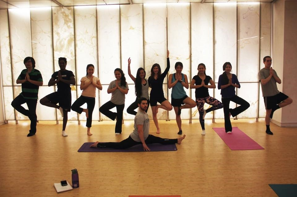 Some members of the UC Yoga Club with primary instructor David London in front.