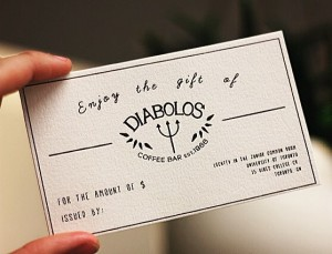 Enjoy the gift of Diablos Coffee bar - gift card