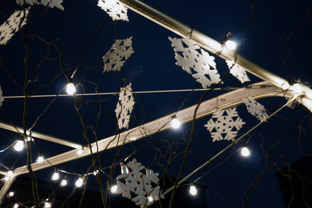 close up photo of snowflake decorations and lights
