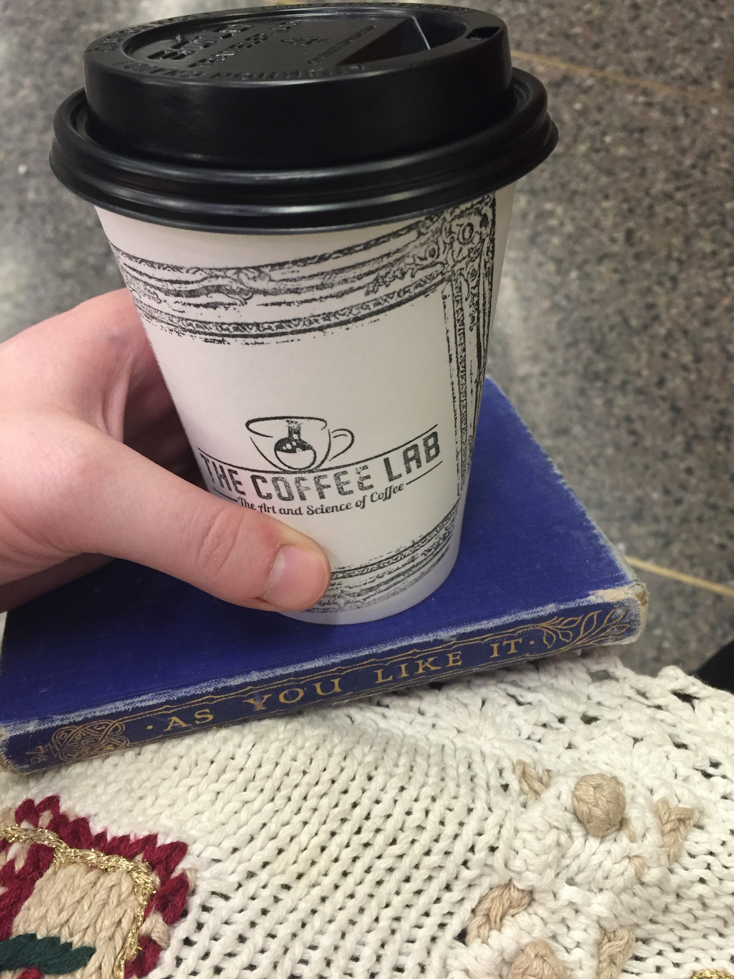 Pictured: Coffee Lab portable cup and As You Like It book