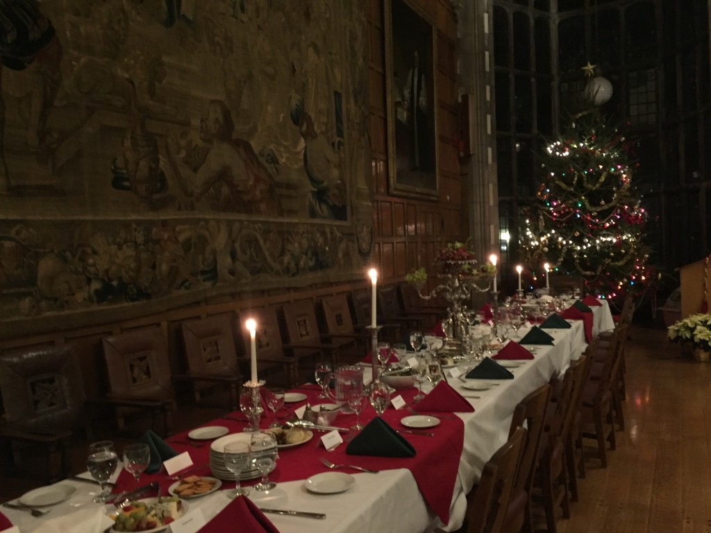Pictured: the high table set for Christmas dinner