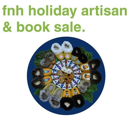A poster for the First Nations House holiday artisan & book sale with the event name and a picture of moccasins.