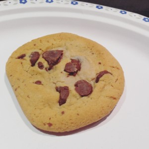 A cookie on a plate.