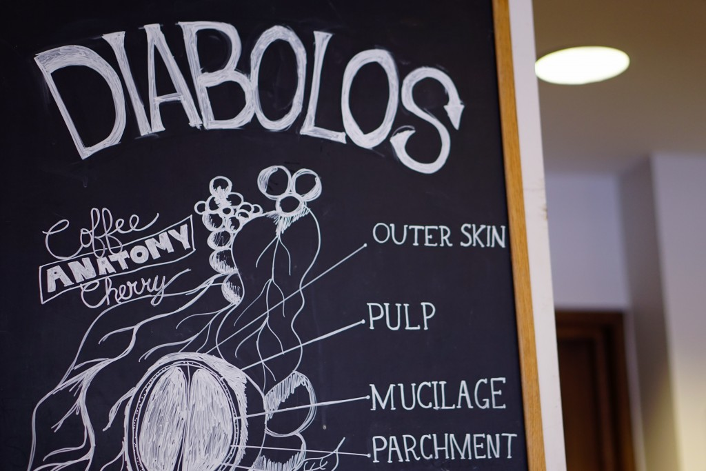 "a sign reading ""diabolos"" with an illustration of a coffee cherry"