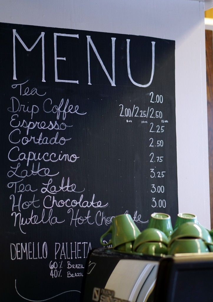 photo of diabolos' menu board, including: tea, coffee, espresso, cortado, cappuccino, latte, tea latte, hot chocolate, and nutella hot chocolate