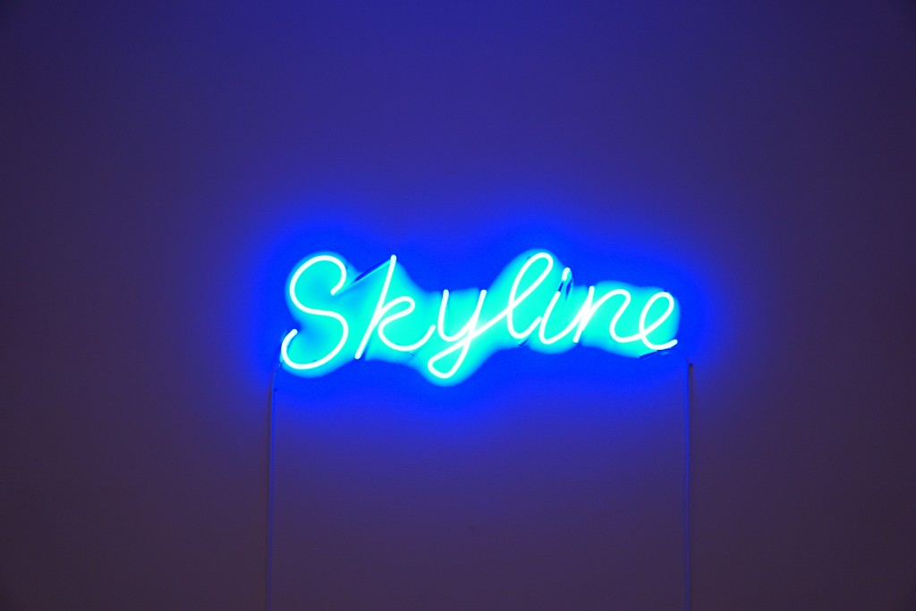 "a blue neon sign reading ""skyline"""