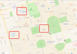 The location of the three fitness centres UofT students have access to; Goldring Centre, Athletic Centre, and Hart House Fitness Centre