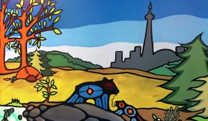 Indigenous artwork showing animals in a meadow in front and the Toronto skyline in back.