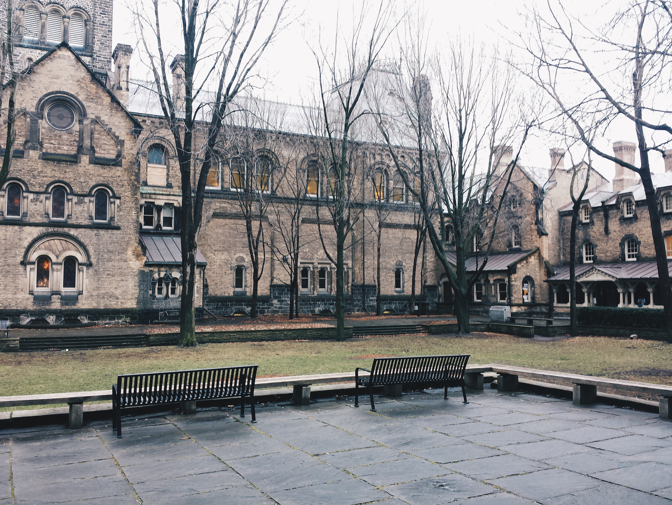 A view of the UC Quad on a rainy afternoon.