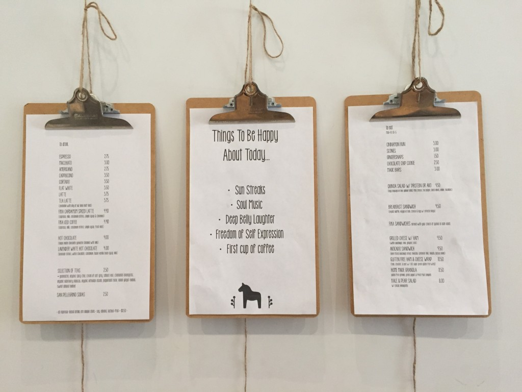 Fika Cafe menu