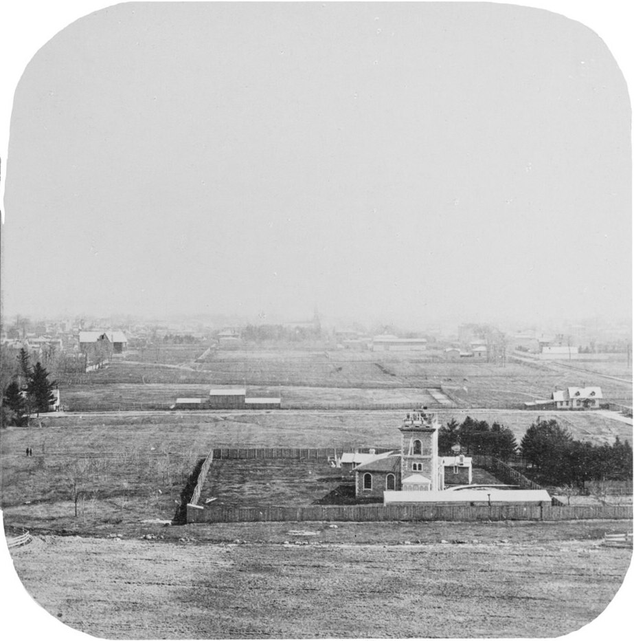 Taken from the top of University College, looking south to the Magnetic Observatory, now the UTSU building, with its distinctive dome! You can observe just how much the landscape around the building has changed since 1859- see how far rural land stretches to what is now bustling, busy Queen's Park. Photo taken by William Notman, 1859. Photo Source: http://oldtorontomaps.blogspot.ca/2013/08/1859-university-of-toronto-campus.html
