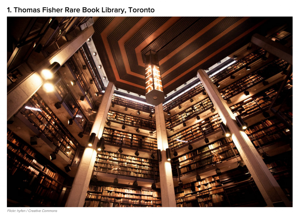 photo of the rare books library in a buzzfeed article