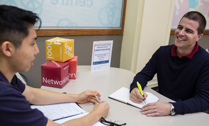 A student at a career centre appointment.
