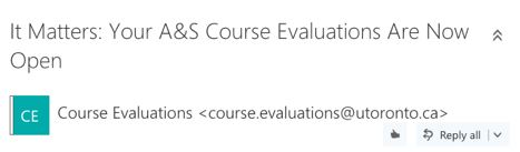 Pictured: Course evaluation e-mail