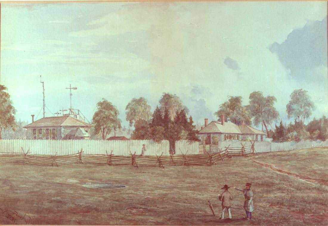 A painting showing the observatory from outside with two people viewing it.