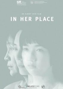 "A girl, a woman, and a man with the title, ""In Her Place."""