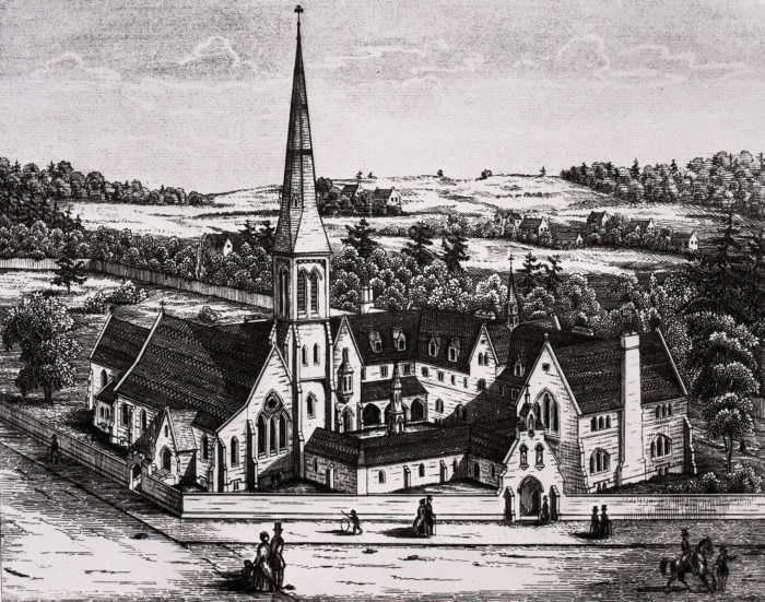 A sketch of St. Mike's as it was, back in 1855. Source: http://www.torontopubliclibrary.ca/detail.jsp?R=DC-PICTURES-R-3192