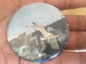 a picture of a button with a flock of seagulls on it