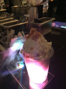 Picture of one of the liquid ice cream during the friday night live event