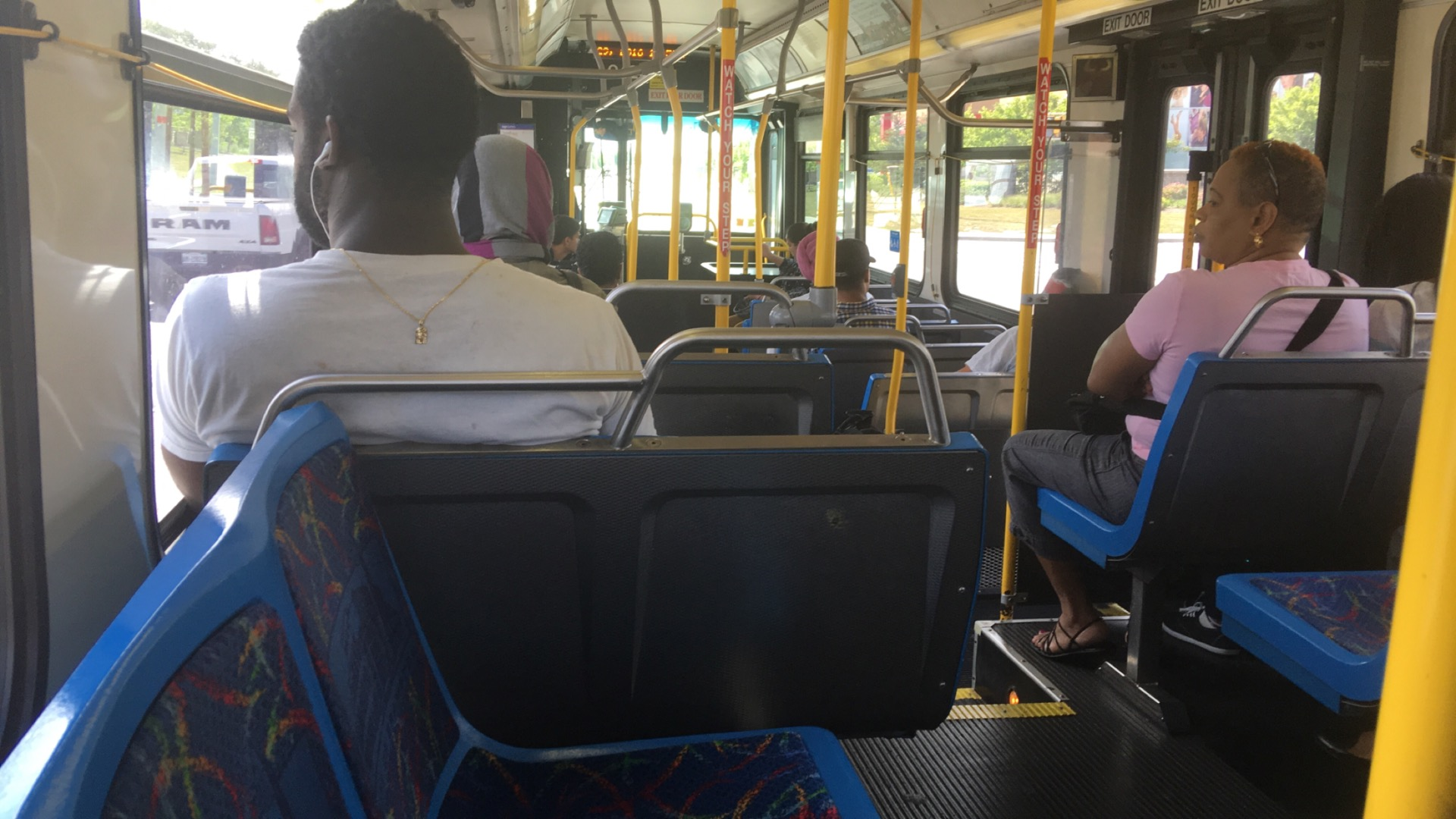 Picture of the view from a public transportation bus
