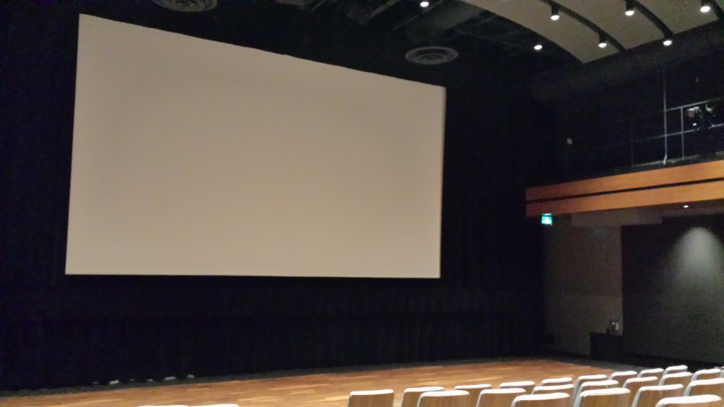 Photo of the blank theatre screen before the films rolled out