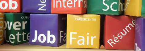 Picture of colourful boxes with job, career, fair, internship written on them.