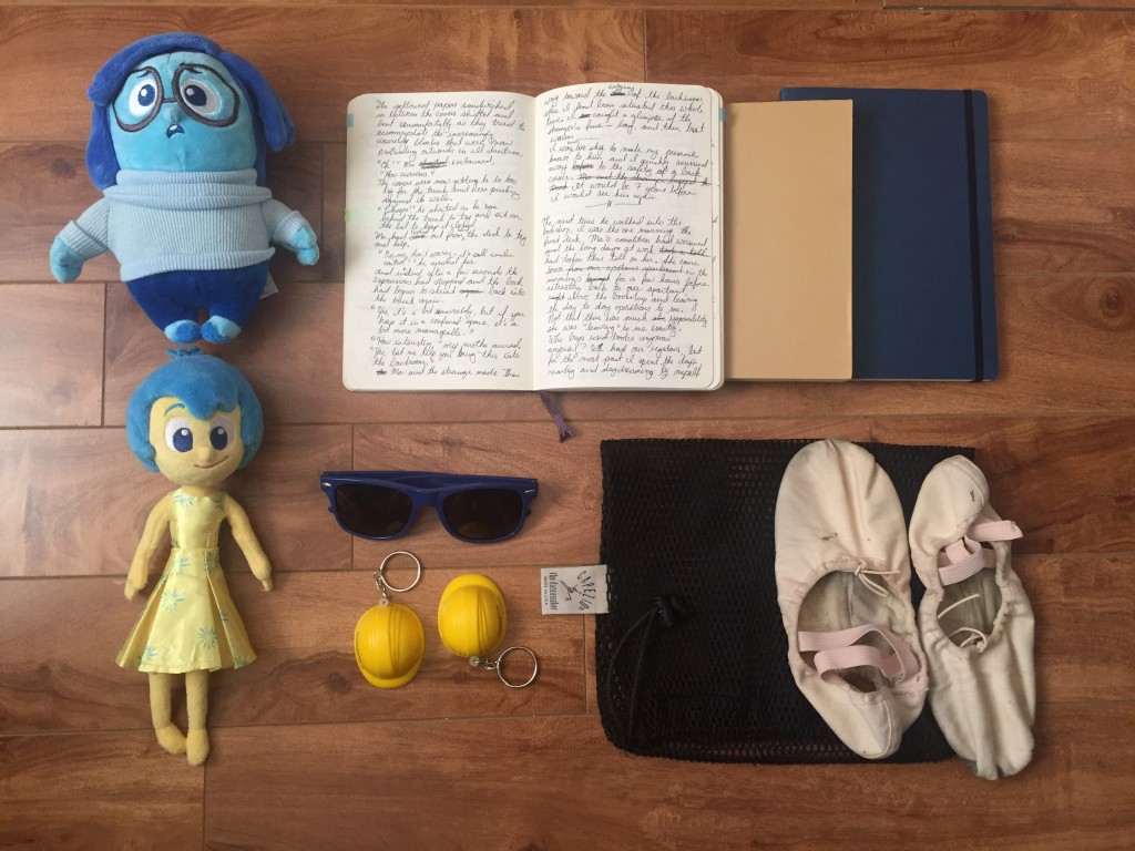 """Inside Out"" plushies, notebooks, hard hat keychains, sunglasses, ballet shoes"