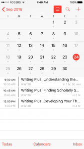 A screenshot of blogger jasper's electronic calendar highlighting Saturday's schedule with three writing plus classes