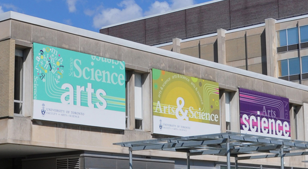 Arts & Science banner outside of Sidney Smith Hall